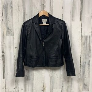 Black Leather Zip Up Jacket Size Small